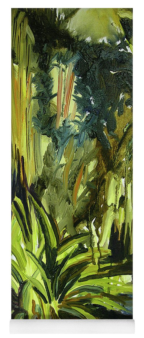 Canvas Prints Yoga Mat featuring the painting Bamboo Garden I by Julianne Felton