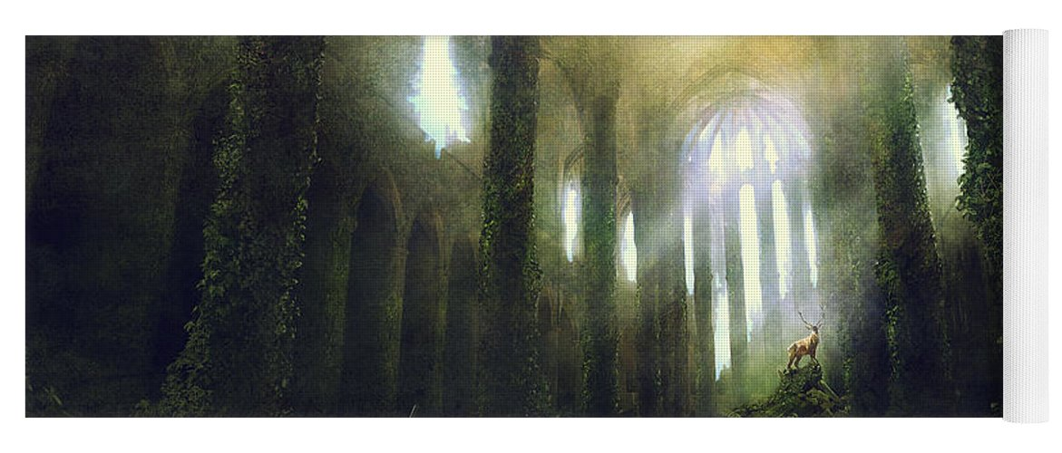 Sciencie Fiction Yoga Mat featuring the painting Barcelona Aftermath Santa Maria Del Mar by Guillem H Pongiluppi