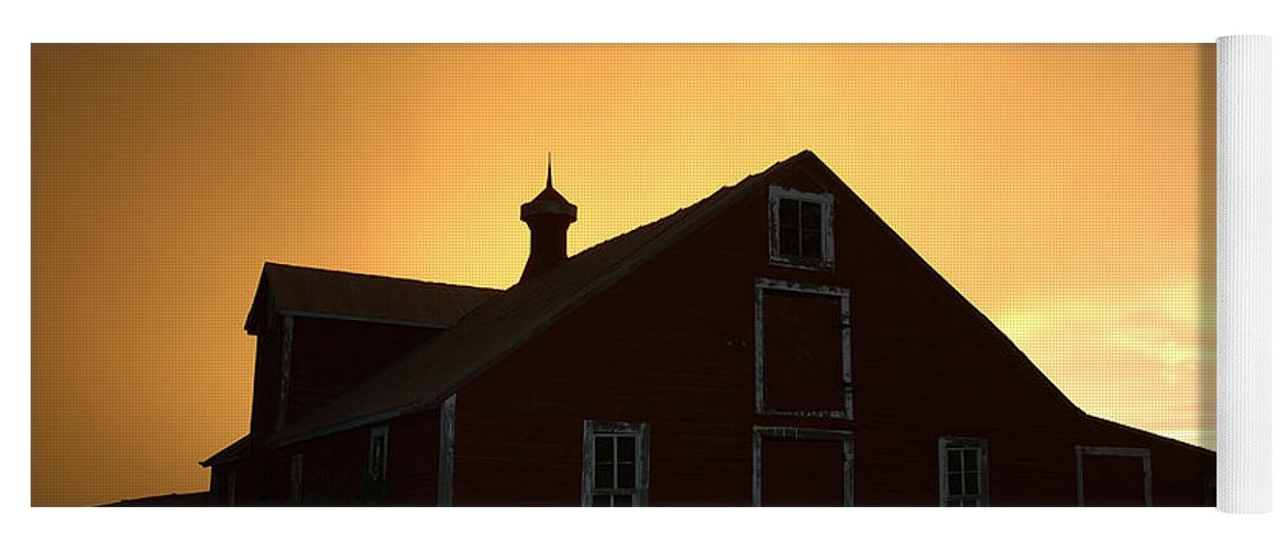 Barn Yoga Mat featuring the photograph Barn At Sunset by Jerry McElroy