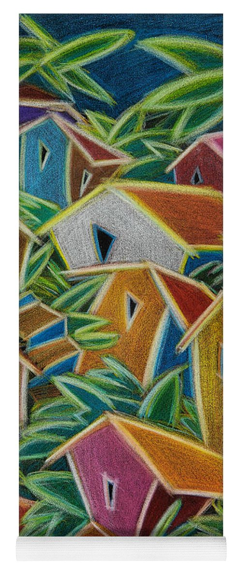 Landscape Yoga Mat featuring the painting Barrio Lindo by Oscar Ortiz