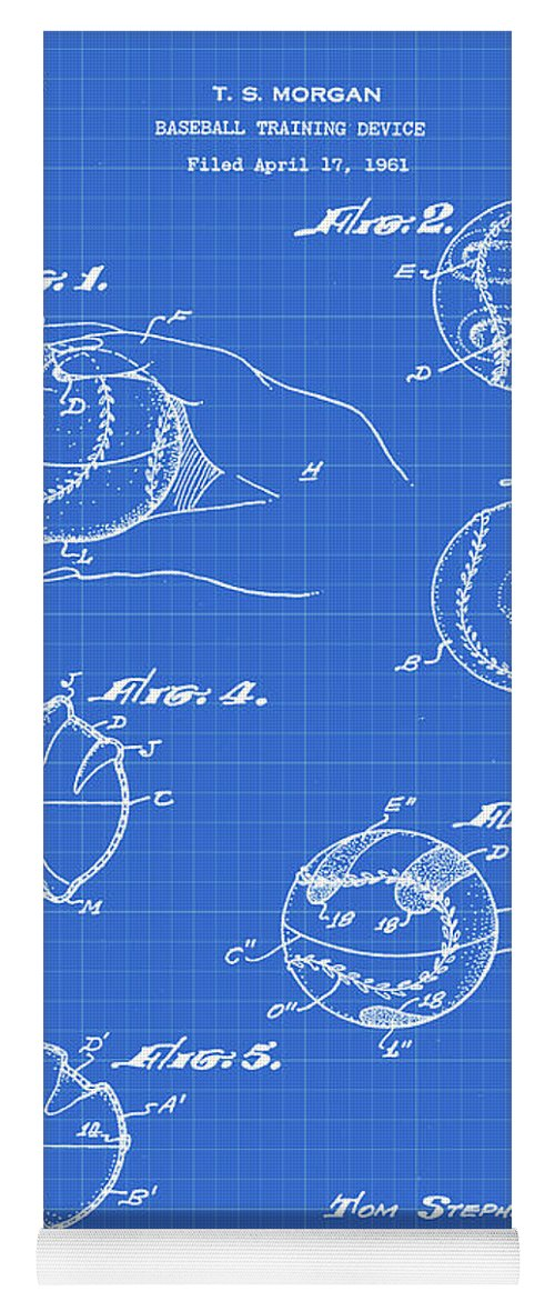 Baseball Yoga Mat featuring the photograph Baseball Training Device Patent 1961 Blueprint by Bill Cannon