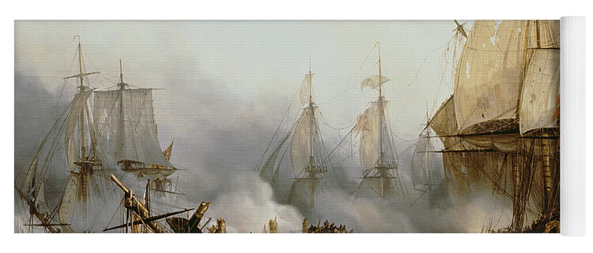 Battle Of Trafalgar By Louis Philippe Crepin Yoga Mat featuring the painting Battle of Trafalgar by Louis Philippe Crepin