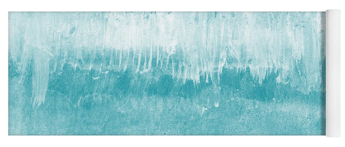 Abstract Yoga Mat featuring the mixed media Beach Day Blue- Art by Linda Woods by Linda Woods