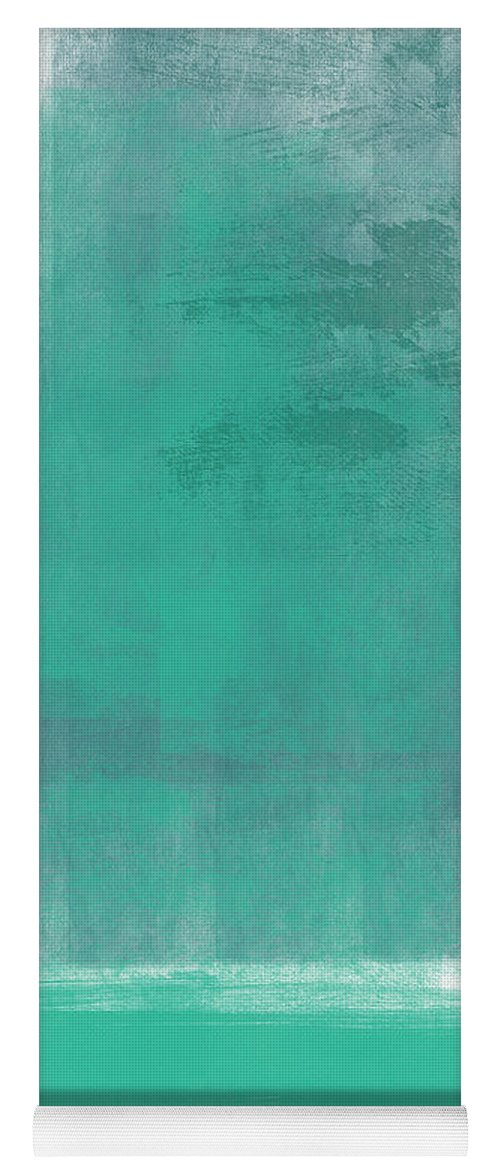 Abstract Yoga Mat featuring the painting Beach Glass- Abstract Art by Linda Woods
