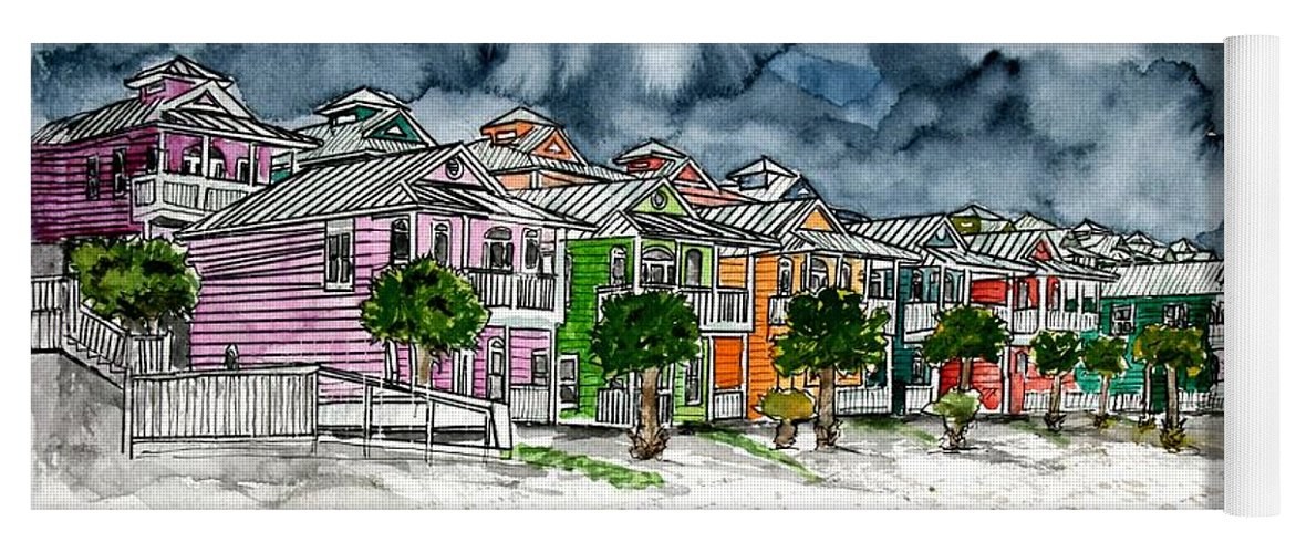 Watercolor Yoga Mat featuring the painting Beach Houses Watercolor Painting by Derek Mccrea