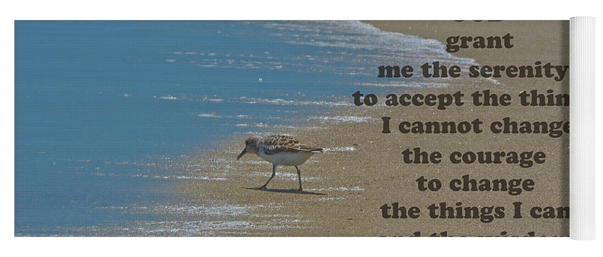 The Serenity Prayer Yoga Mat featuring the photograph Beach Serenity Prayer by Sandi OReilly