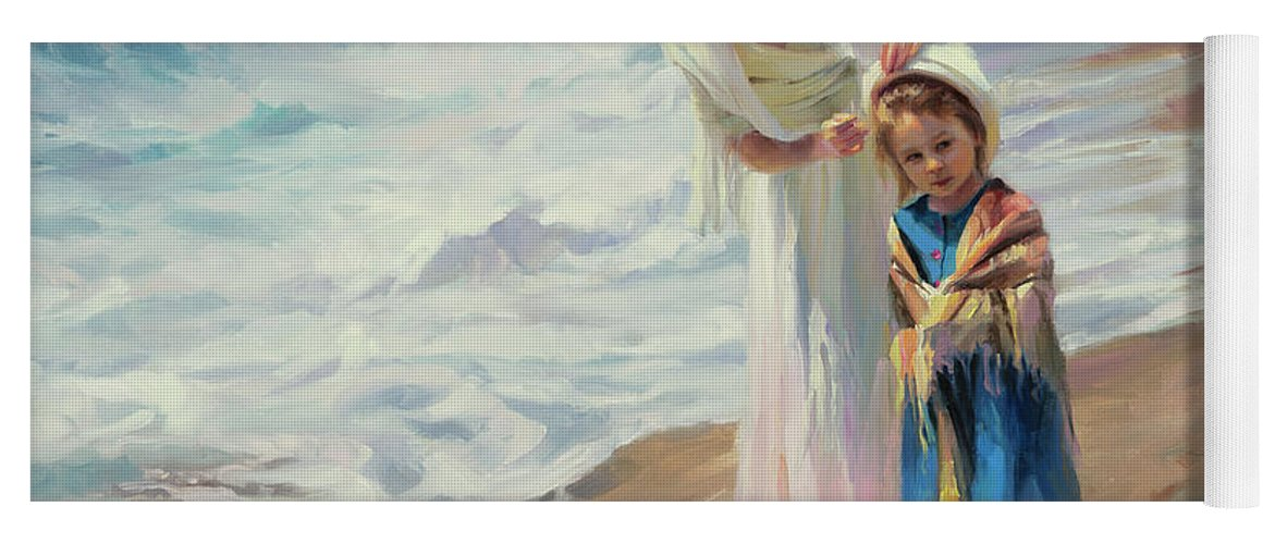 Beach Yoga Mat featuring the painting Beachside Diversions by Steve Henderson