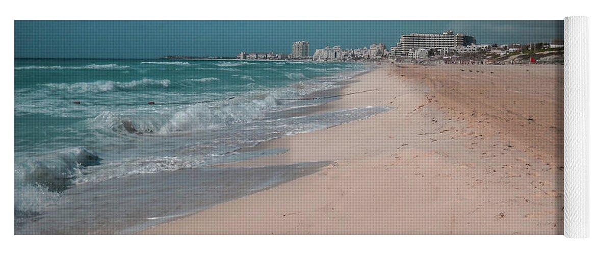 Beach Yoga Mat featuring the digital art Beautiful beach in Cancun, Mexico by Nicolas Gabriel Gonzalez