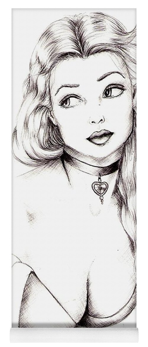 Figure Yoga Mat featuring the drawing Beauty by Scarlett Royal