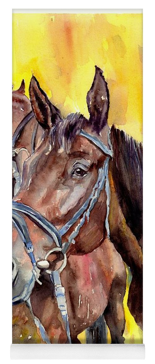 Horse Yoga Mat featuring the painting Before The Race by Suzann Sines