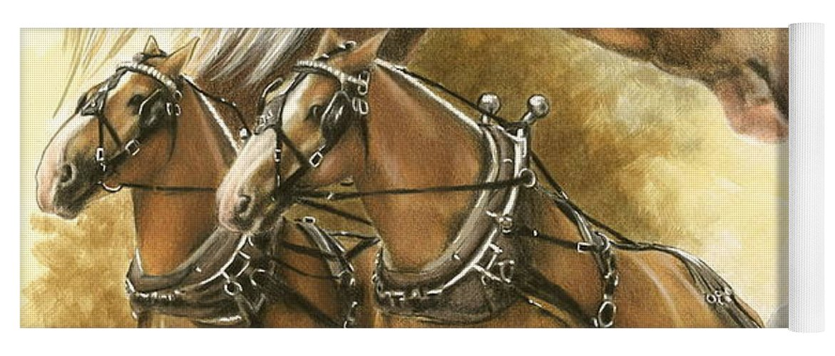 Equus Yoga Mat featuring the mixed media Belgian by Barbara Keith