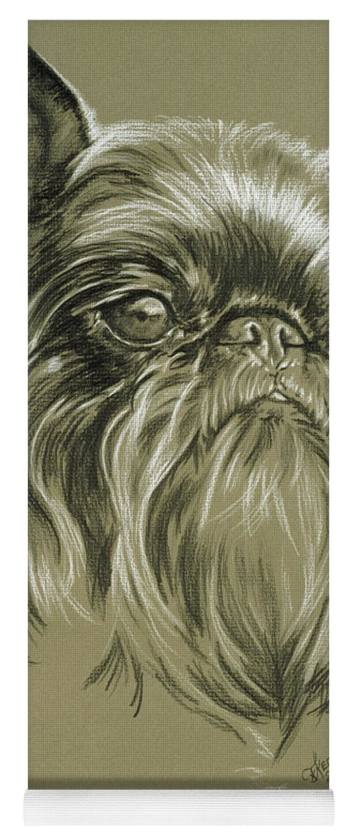 Toy Group Yoga Mat featuring the drawing Belgian Griffon In Charcoal by Barbara Keith