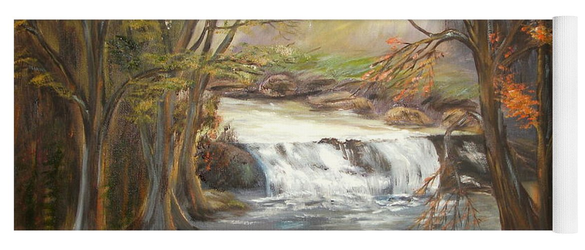 Landscape Yoga Mat featuring the painting Below the falls by Kenneth LePoidevin