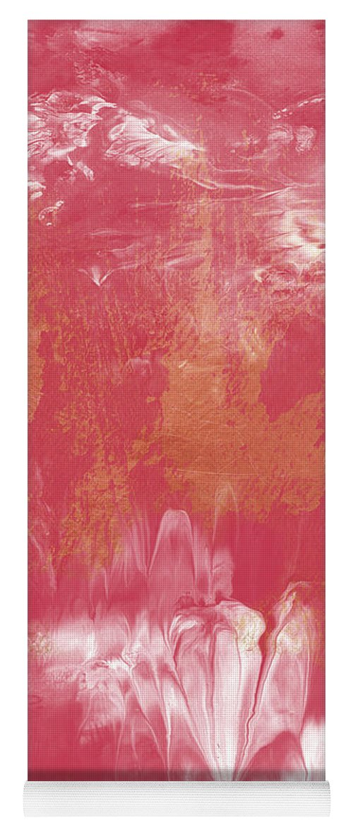 Abstract Yoga Mat featuring the painting Berry and Gold- Abstract Art by Linda Woods by Linda Woods