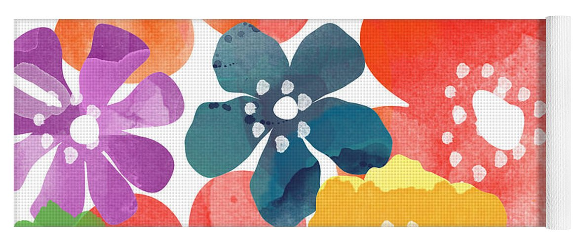 Flowers Yoga Mat featuring the painting Big Bright Flowers by Linda Woods