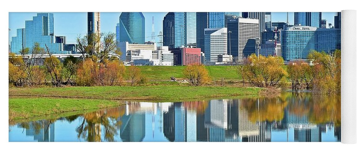 Dallas Yoga Mat featuring the photograph Big D Reflection by Frozen in Time Fine Art Photography