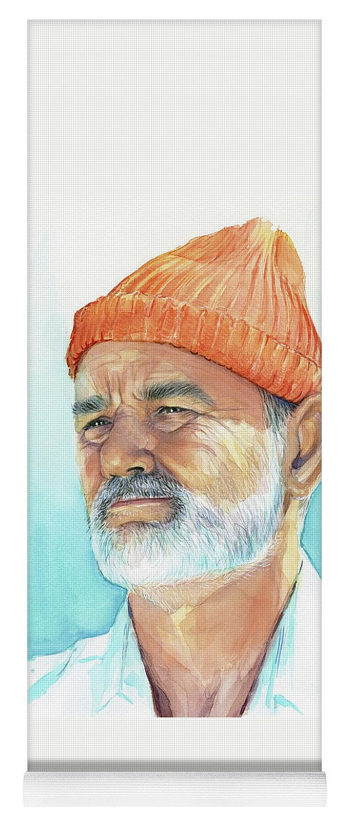 Bill Murray Yoga Mat featuring the painting Bill Murray Steve Zissou Life Aquatic by Olga Shvartsur