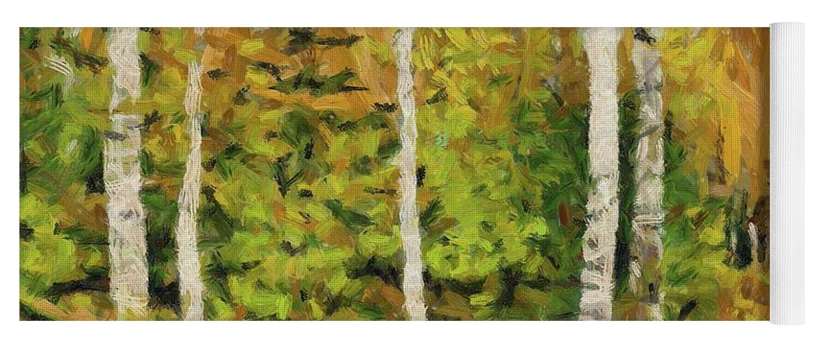 Landscape Yoga Mat featuring the painting Birches And Spruces by Dragica Micki Fortuna