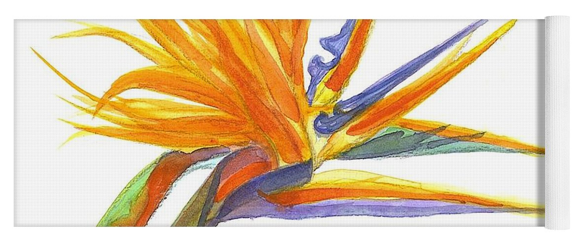Bird Of Paradise Yoga Mat featuring the painting Bird Of Paradise by Midge Pippel