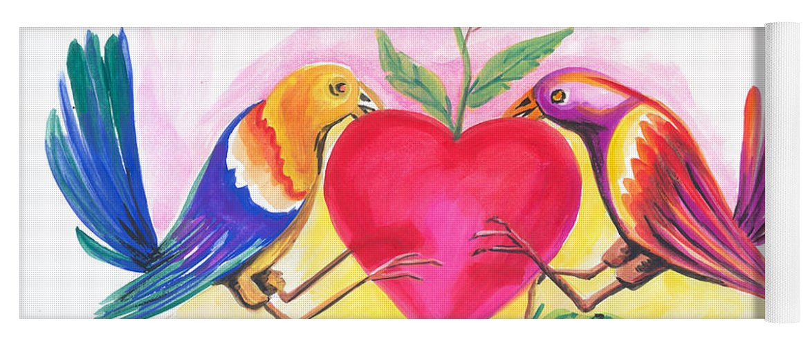 Love Yoga Mat featuring the painting Birds In Love 01 by Emmanuel Baliyanga
