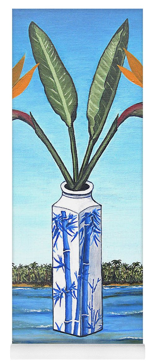 Bird Of Paradise Yoga Mat featuring the painting Birds Over Paradise Flowers by Jerome Stumphauzer