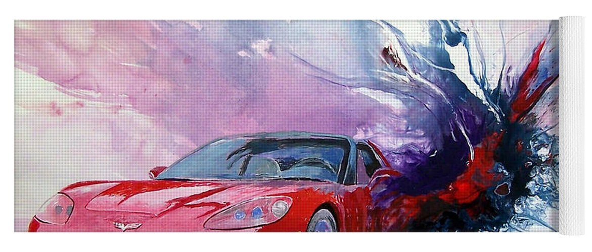 Red Corvette; C6; Yoga Mat featuring the painting Birth Of A Corvette by John Gabb