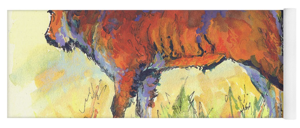 Bison Yoga Mat featuring the painting Bison Calf by Marion Rose