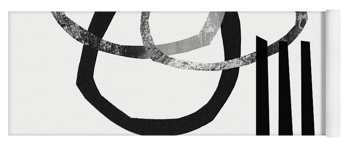 Black And White Abstract Yoga Mat featuring the mixed media Black and White- Abstract Art by Linda Woods