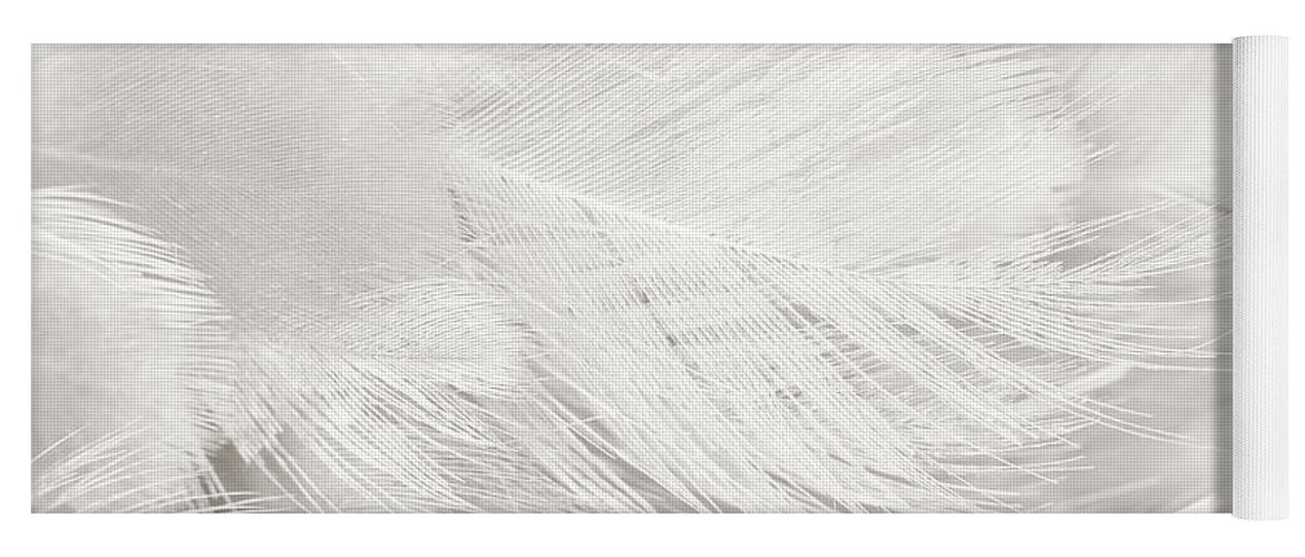 Background Yoga Mat Featuring The Photograph Black And White Feather Texture By Nattaya Mahaum