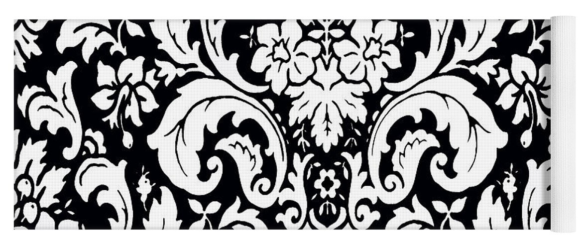 Black And White Paisley Pattern Vintage Yoga Mat For Sale By Saundra