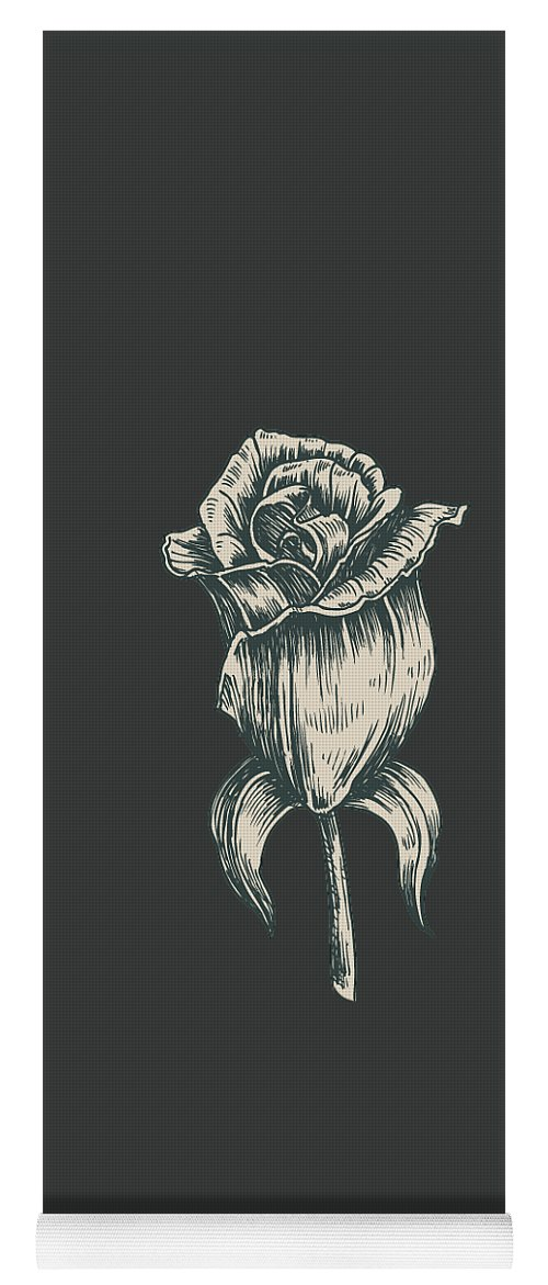 Vintage Rose Yoga Mat featuring the digital art Black On Black by ReInVintaged