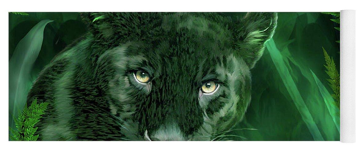 Carol Cavalaris Yoga Mat featuring the mixed media Black Panther - Spirit Of Rebirth by Carol Cavalaris
