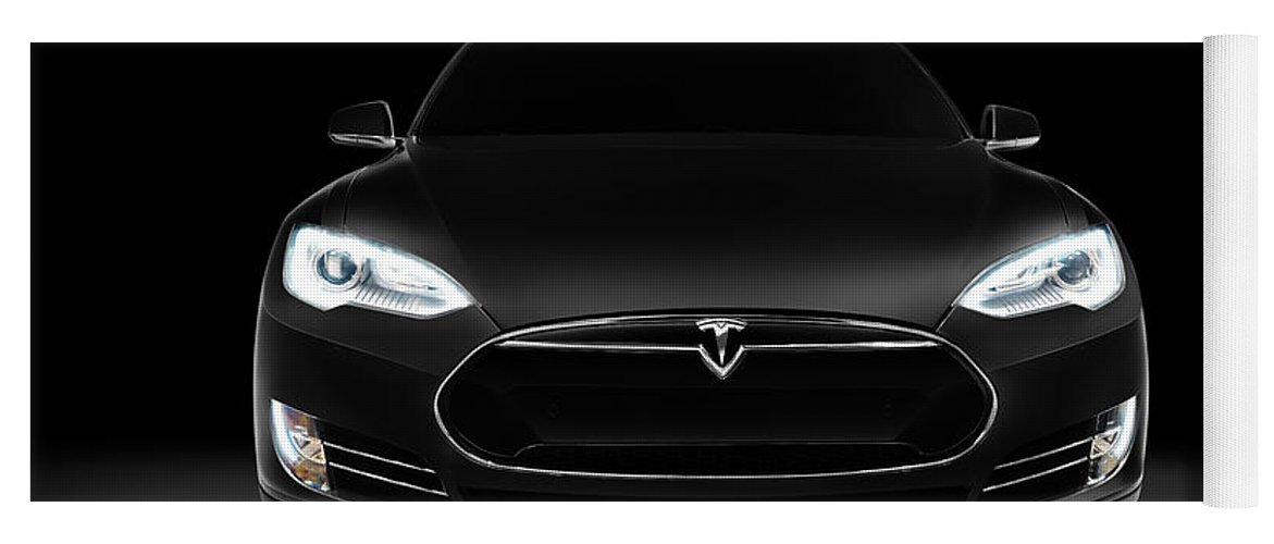 Black Tesla Model S Luxury Electric Car Front View Yoga Mat For Sale