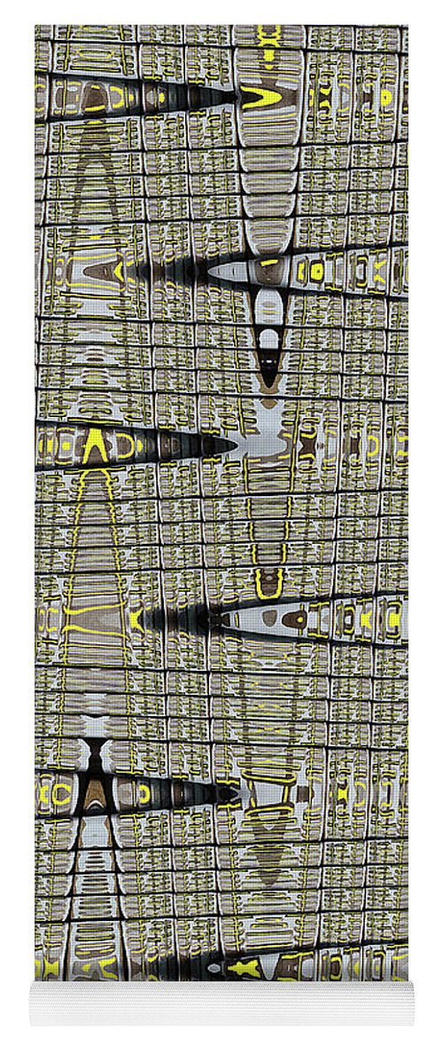 Black Walnut Drawing With Yellow Abstract Yoga Mat featuring the digital art Black Walnut Drawing With Yellow Abstract by Tom Janca