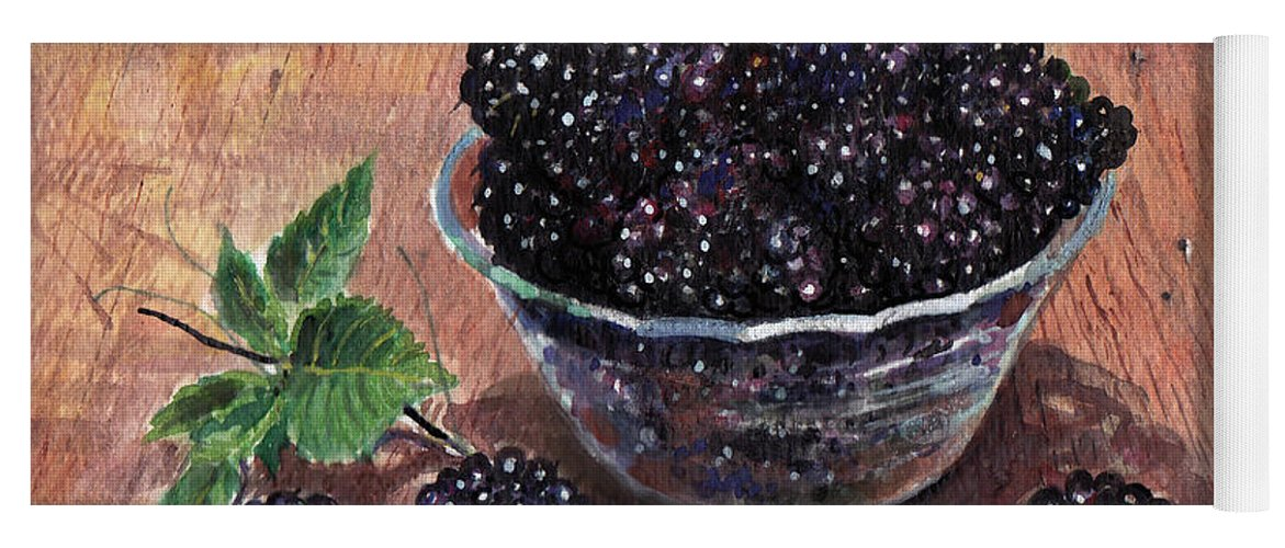 Watercolor Yoga Mat featuring the painting Blackberries by Franco Puliti