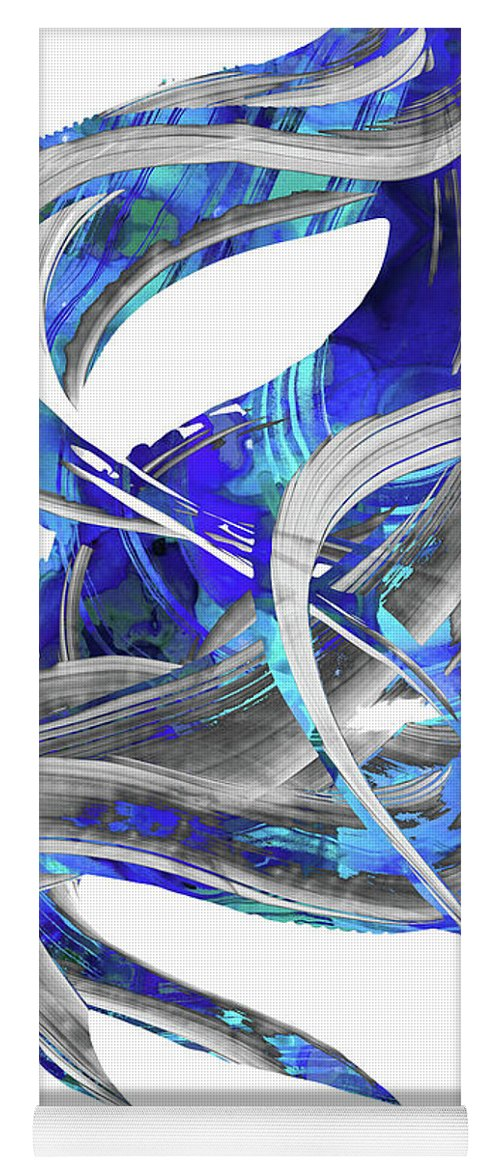 Blue Yoga Mat featuring the painting Blue And Gray Art - Flowing 3 - Sharon Cummings by Sharon Cummings
