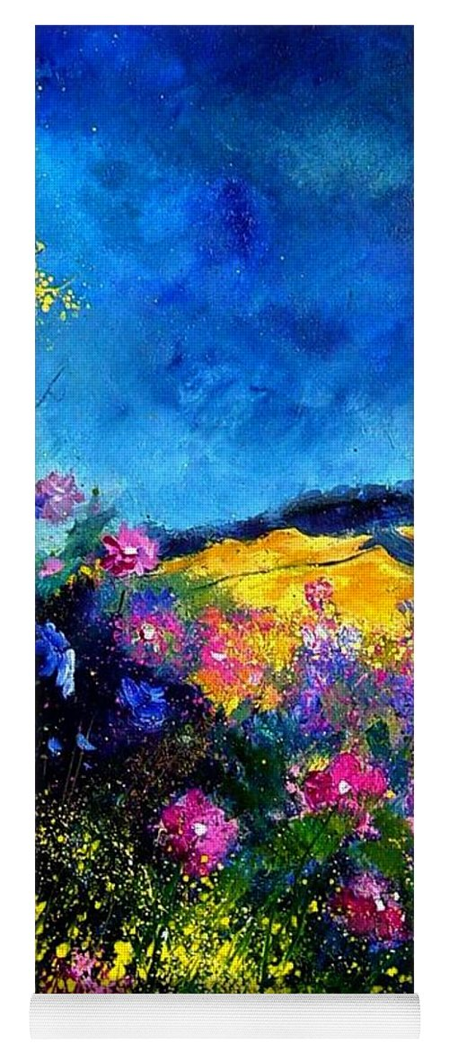 Landscape Yoga Mat featuring the painting Blue and pink flowers by Pol Ledent
