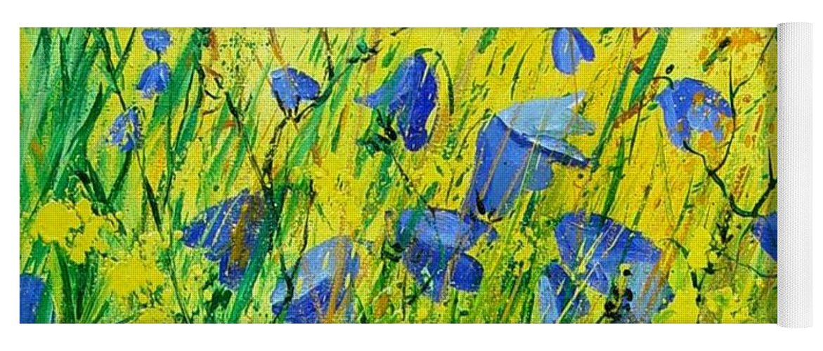 Poppies Yoga Mat featuring the painting Blue bells by Pol Ledent