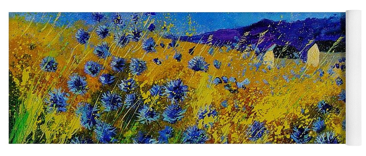 Poppies Yoga Mat featuring the painting Blue cornflowers by Pol Ledent
