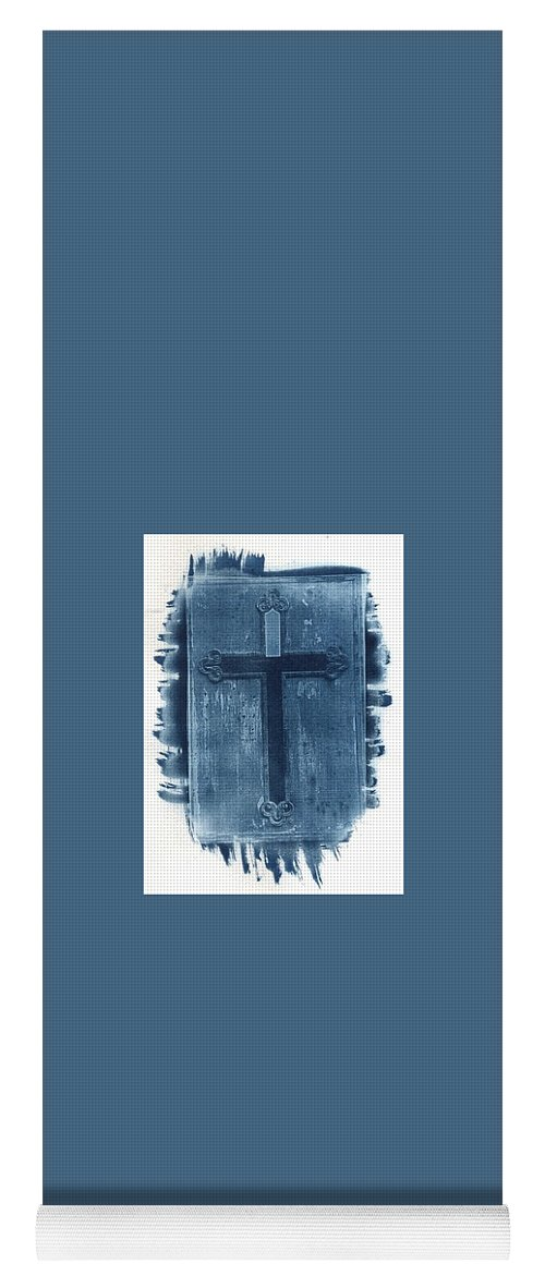 Cyanotype Yoga Mat featuring the photograph Blue Cross by Jane Linders
