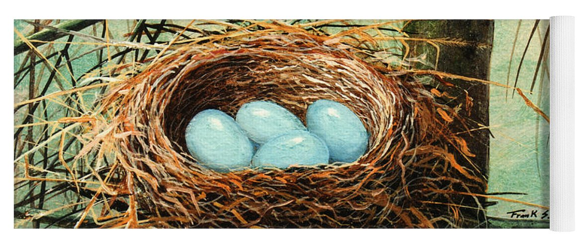 Wildlife Yoga Mat featuring the painting Blue Eggs In Nest by Frank Wilson