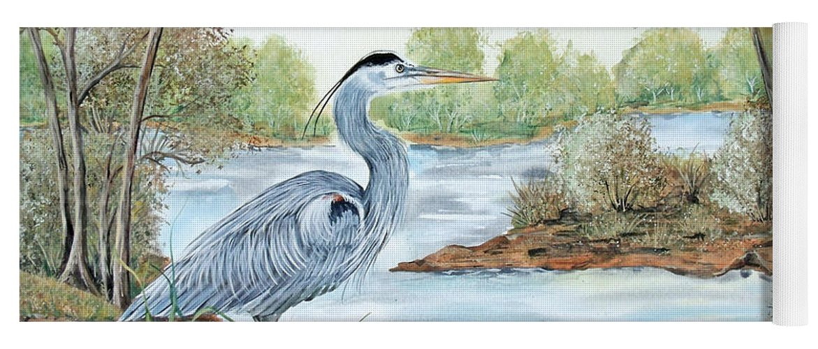 Heron Yoga Mat featuring the painting Blue Heron Of The Marshlands by Jean PLout