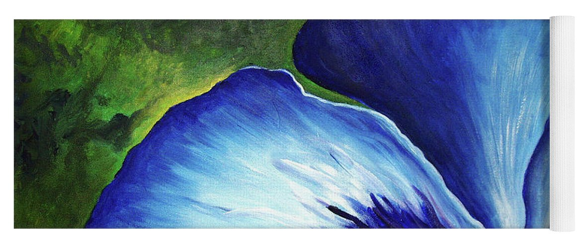 Pansy Yoga Mat featuring the painting Blue Pansies by Nancy Mueller