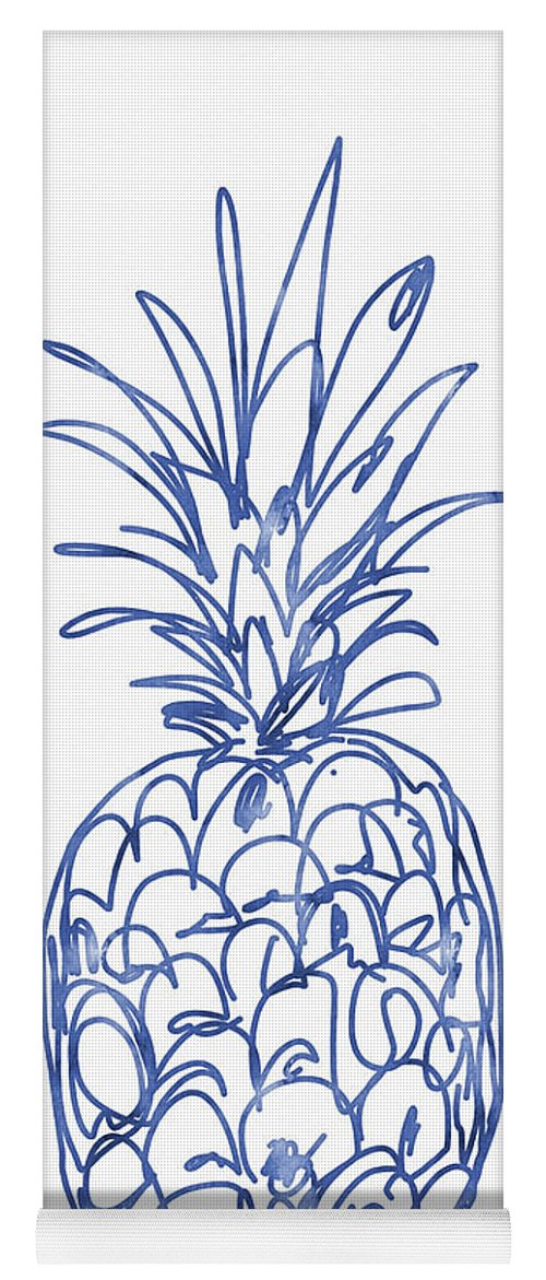Pineapple Yoga Mat featuring the painting Blue Pineapple- Art by Linda Woods by Linda Woods