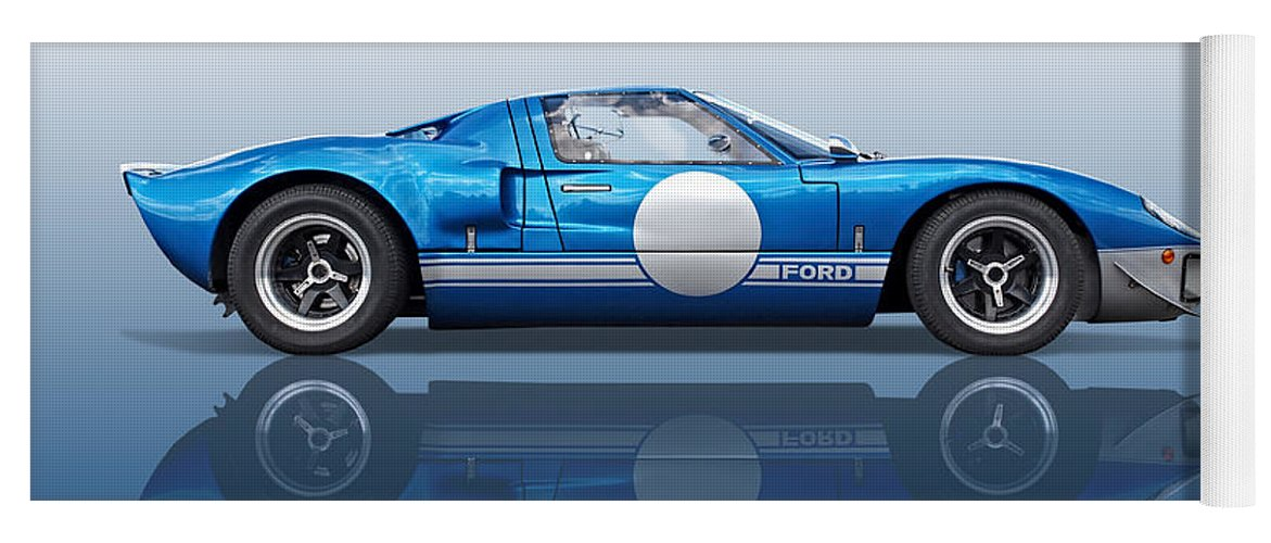 Ford Gt40 Yoga Mat featuring the photograph Blue Reflections - Ford Gt40 by Gill Billington