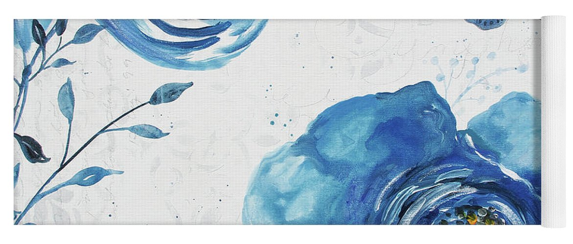 Blue Yoga Mat featuring the painting Blue Symphonie In The Garden 1 by Jean Plout