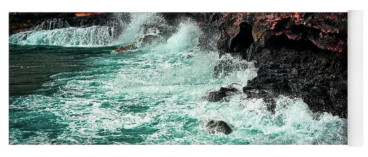 Hawaii Yoga Mat featuring the photograph Blue Turmoil by Christopher Holmes