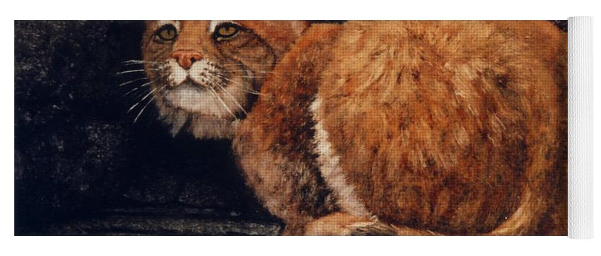 Wildlife Yoga Mat featuring the painting Bobcat On Ledge by Frank Wilson