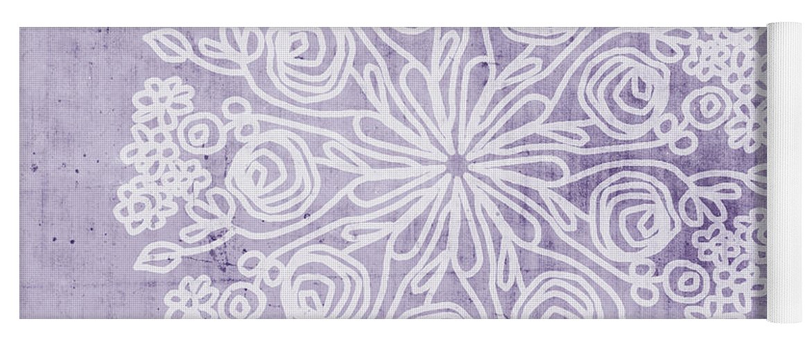 Purple Yoga Mat featuring the mixed media Boho Floral Mandala 1- Art By Linda Woods by Linda Woods