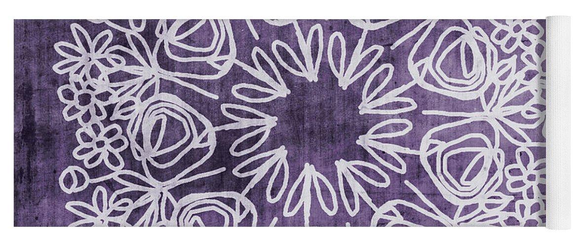 Boho Yoga Mat featuring the mixed media Boho Floral Mandala 2- Art by Linda Woods by Linda Woods